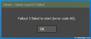 """Steam - Game Launch Failed"" error dialog"