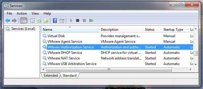 "The VMware Authorization service is clearly marked as ""Started"" in the Services screen."