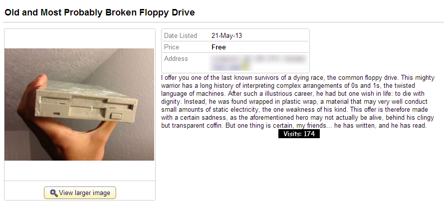 A Kijiji ad titled: Old and Most Probably Broken Floppy Drive