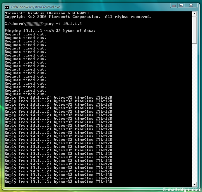 Example output of ping -t shown in a Command Prompt window.