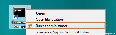 "The context menu is shown with the ""Run as administrator"" menu option selected. This allows users to launch a shortcut with administrative rights manually."