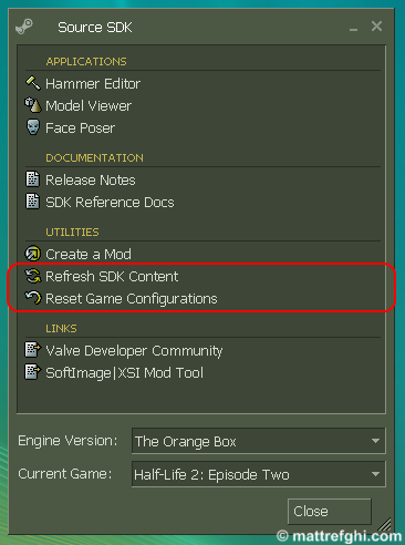 """Refresh SDK Content"" and ""Reset Game Configurations"""