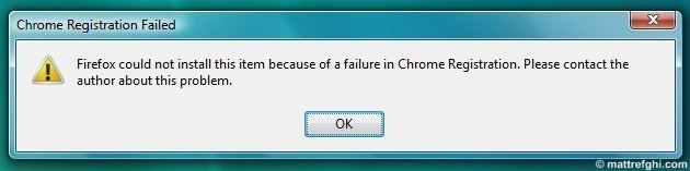 """Chrome Registration Failed"" error dialog that appears when you try to open Firefox."