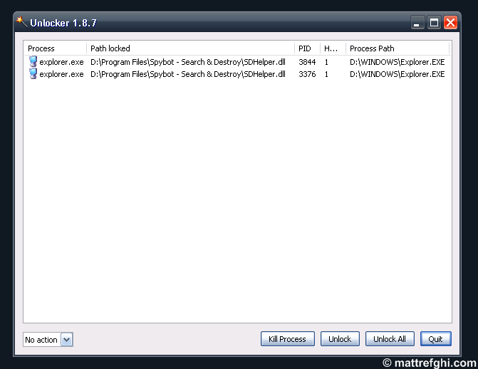 Unlocker Assistant showing the processes that have a hold on the locked file.
