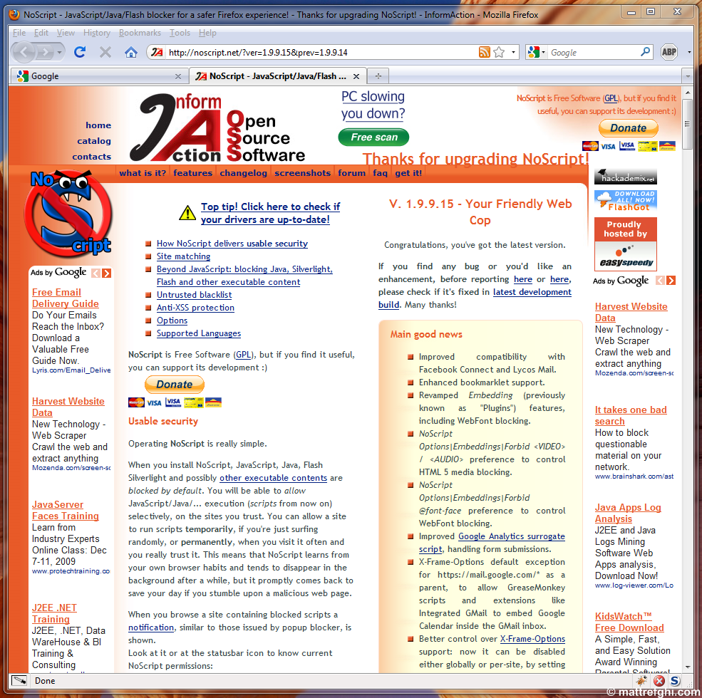 The NoScript homepage - content aggressively mixed with advertising, affiliation links, and donation buttons.