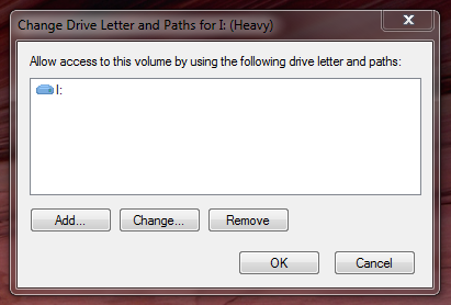"The ""Change Drive Letter and Paths"" dialog allows to modify the drive letter associated with any given drive."