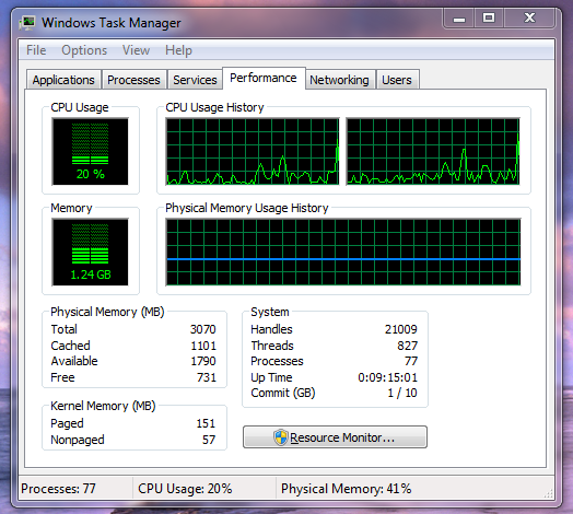 Task Manager window showing performance data.