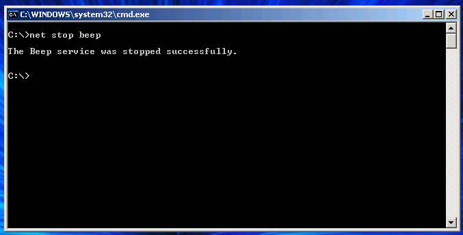 """Typing """"net stop beep"""" in the console will temporarily disable the system beep feature."""