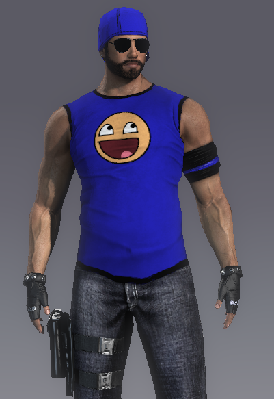 In-game character featuring an Awesome smiley shirt, which I made.