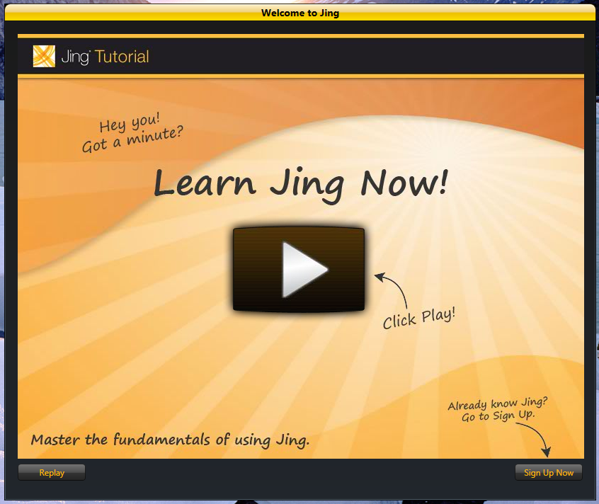 """Welcome to Jing"" dialog, which features no close button"