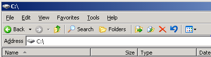 Windows Explorer interface in Windows Server 2003