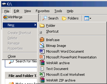 Windows Server 2003 screenshot - reveals the File - New - Folder path in the menu bar