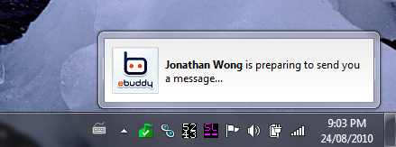 Trillian notification with the text: Jonathan Wong is preparing to send you a message....