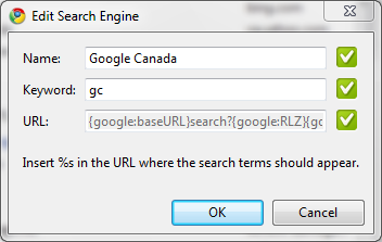 Google Canada search engine definition in Google Chrome