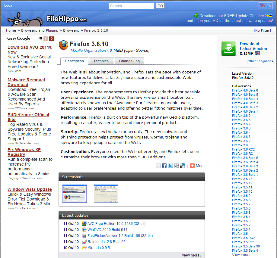 FileHippo page for Firefox. Numerous old versions are listed.