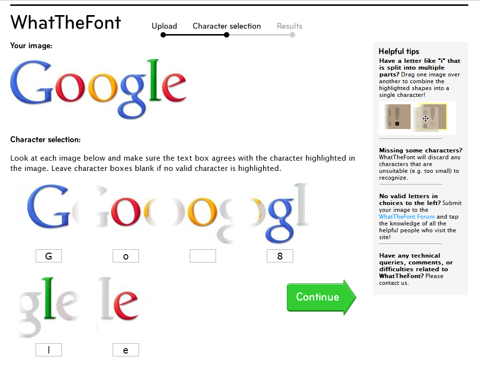 The Google logo as seen within WhatTheFont.