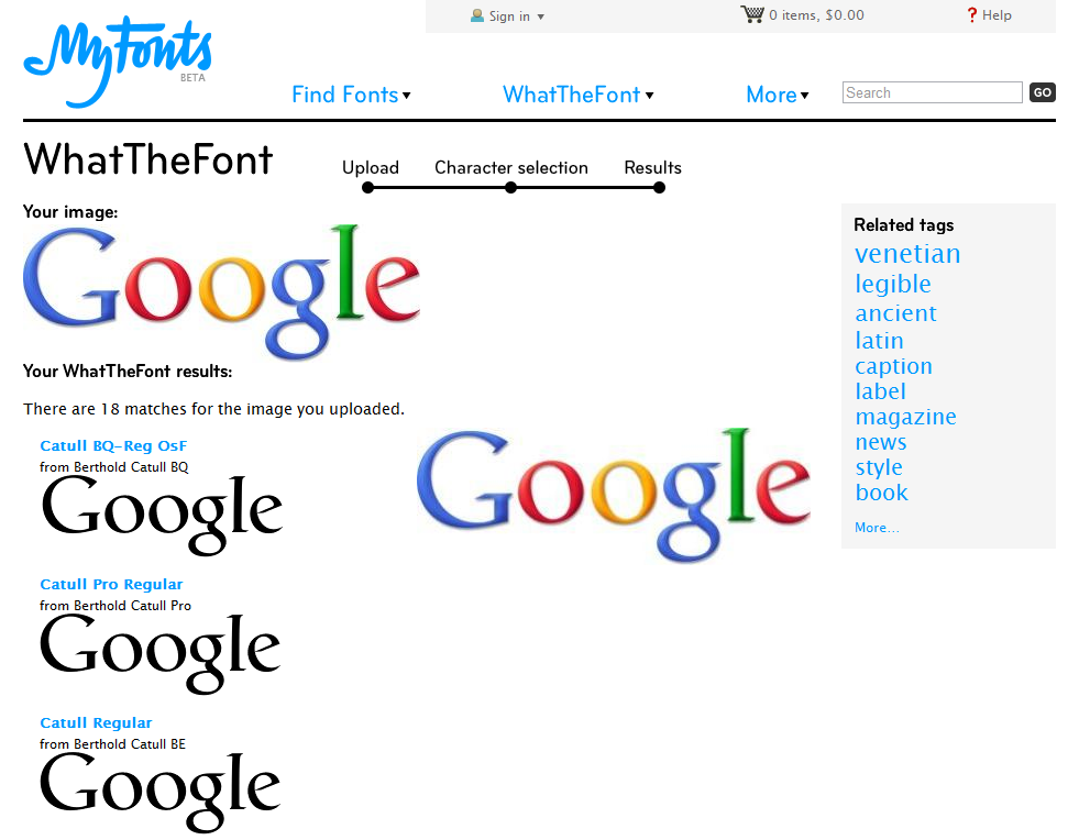 Google logo search results within WhatTheFont.