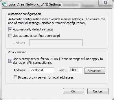 Local Area Network (LAN) Settings dialog in Windows, with a proxy server configured.