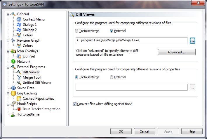 Configuring Subversion to use WinMerge as a diff viewer