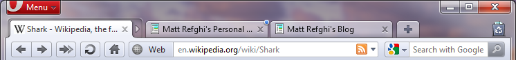 A collapsed tab stack, with Shark as the active tab.