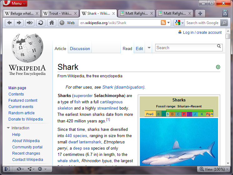 The main Opera interface, showing a total of five tabs open. Three are about underwater species, while the other two are unrelated.