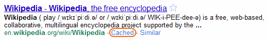 "In Google search results, a link titled ""Cached"" can typically be seen right next to the URL."