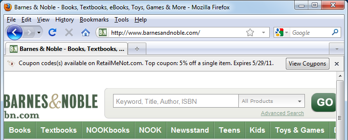 RetailMeNot's Firefox plugin is capable of reporting coupons as you browse