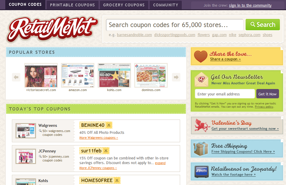 The main page of RetailMeNot.com lists top coupons and stores, and also has a search feature.