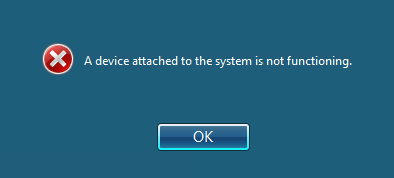 A device attached to the system is not functioning.