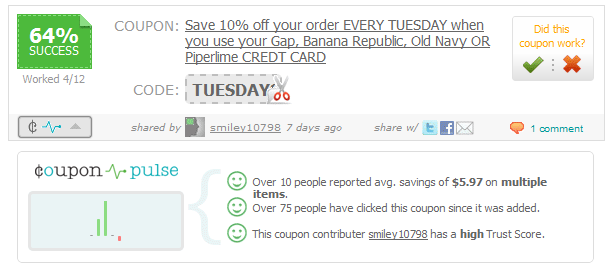 Coupon Pulse is accessed via a button at the bottom left corner of the coupon listing. When pressed, it will expand below the coupon, offering useful statistics.