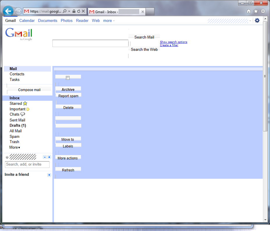 A giant blue bar can be seen obstructing the Gmail interface.