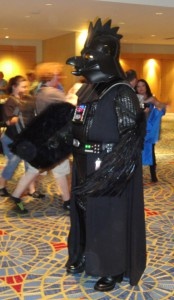 A unique variation on an otherwise common costume - Darth Vader, in the form of a chicken.