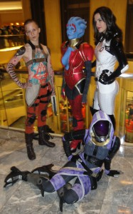 Jack, Samara, Miranda, and Tali from Mass Effect 2.