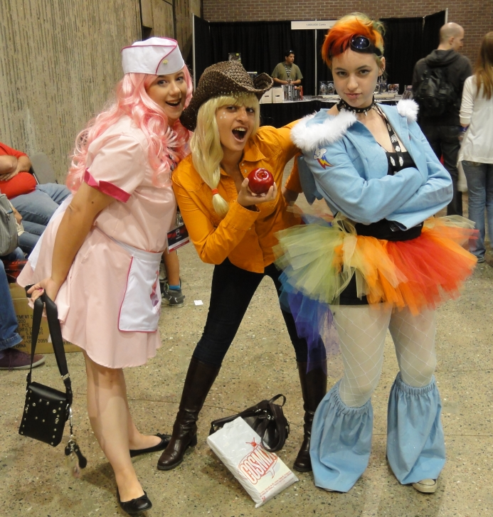 Pinkie Pie, Applejack, and Rainbow Dash from My Little Pony.