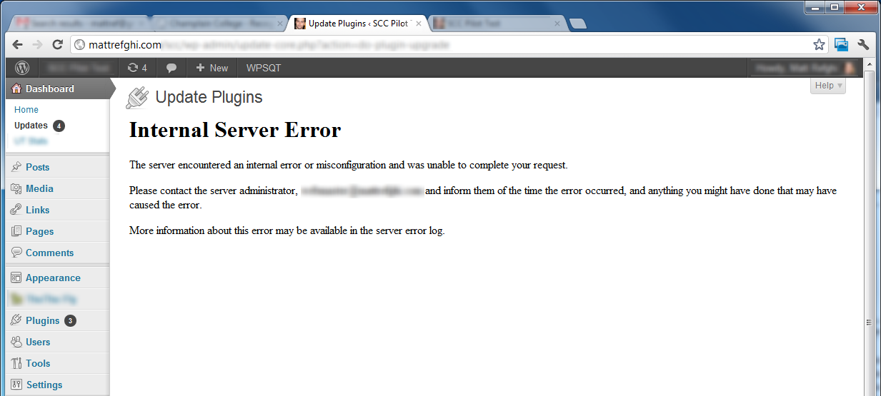 Internal Server Error (HTTP 500) seen within WordPress' Update Plugins page.