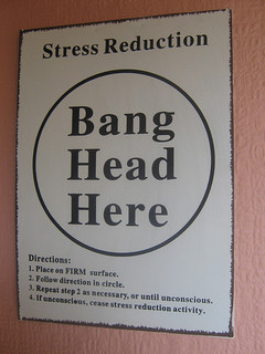 "A sign that says ""Stress Reduction,"" followed by as large circle that says ""Bang Head Here."" Funny directions are listed below it."