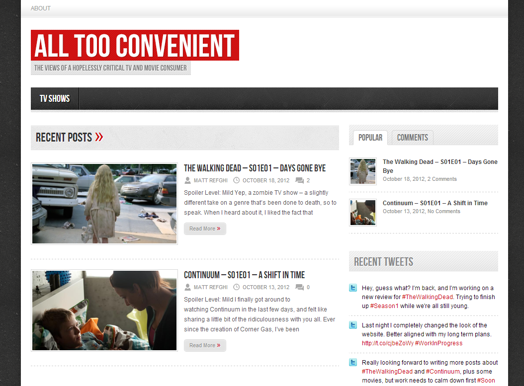 The latest attempt at All Too Convenient, with two blog posts visible on the main page.