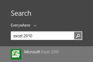 Excel 2010 showing up in the Windows 8 start screen, as a search result