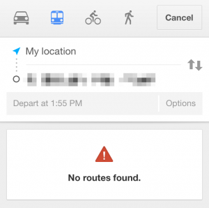 "Google Maps on iOS saying ""No routes found."""