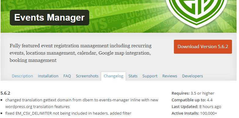The Events Manager page, with a big, orange button that contains the text Download Version 5.6.2