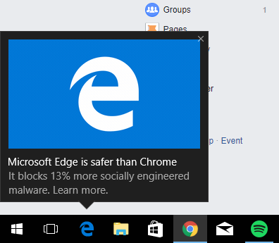 Microsoft Edge is safer than Chrome. It blocks 13% more socially engineered malware. Learn more.