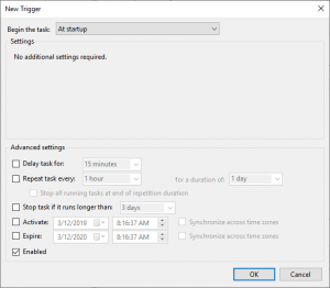 "New Trigger dialog in the ""Schedule Tasks"" wizard. Allows you control when the scheduled task will be triggered."